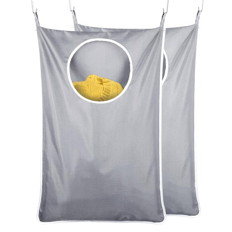2 Pack Laundry Hamper,Laundry Hamper Door Hanging with Hooks, Oxford Fabric Door Laundry Hamper Extra Large Grey