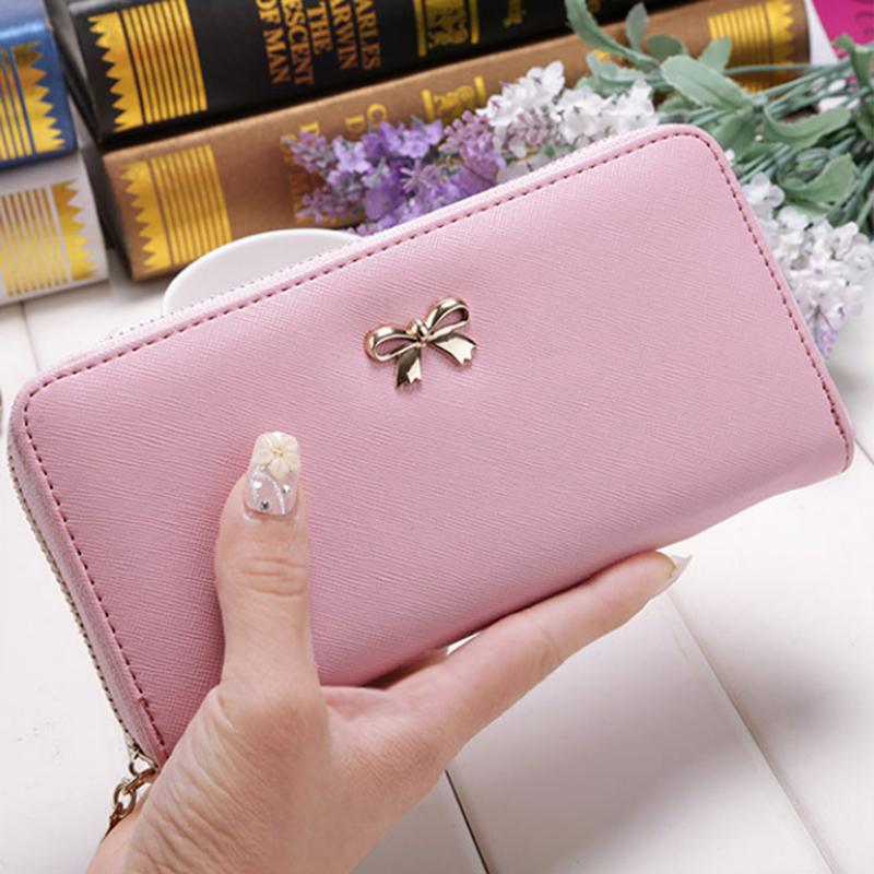 Cartão de visita Ladies Wallet Titular Cartão bonito bowknot Manga comprida Carteira cor sólida Clutch Bag 2020 Novo PU carteira de couro telefone saco