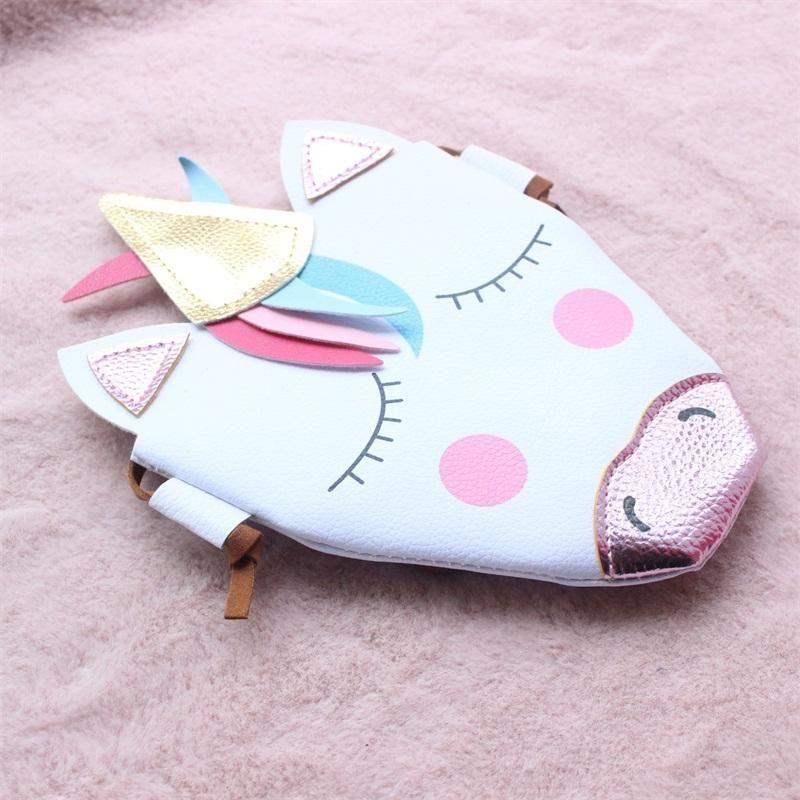يونيكورن عملة محفظة الطفل قطري حقيبة الصليب كيد جميل بو مشرق اللون التفاف التسوق في الهواء الطلق الأبيض ملون 10dt C1