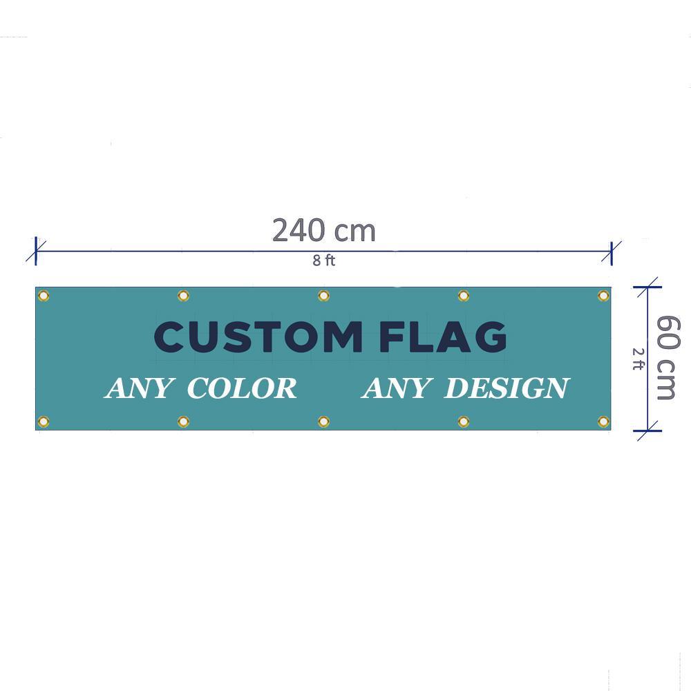 Benutzerdefinierte 2x8FT Banner 60X240cm jeder Größe Marke Company Logo Sport Club Außen anpassen Flaggen Messing-Ösen, freies Verschiffen