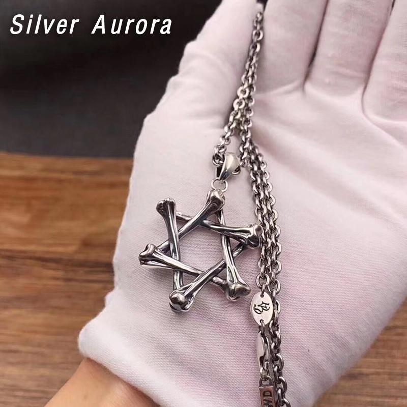 2020 Crâne vintage Hexagonal étoiles Charm Pendant 100% 925 bijoux en argent sterling Hommes Femmes collier pendentif
