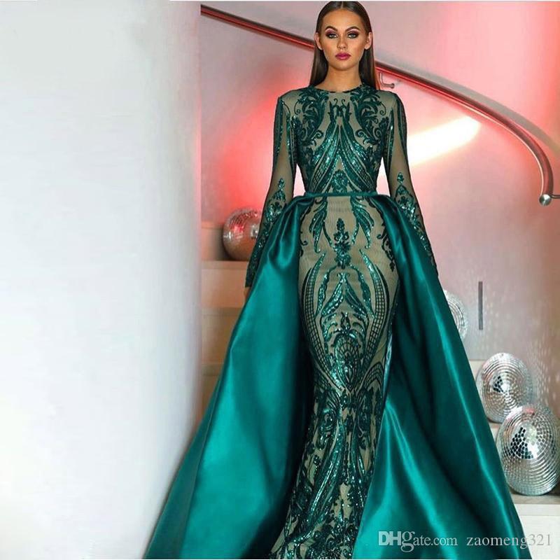 Vestido de noche musulmán 2020 Sparkly Sequin de manga larga tren desmontable Emerald Green Kaftan Arabia Formal fiesta vestido de fiesta