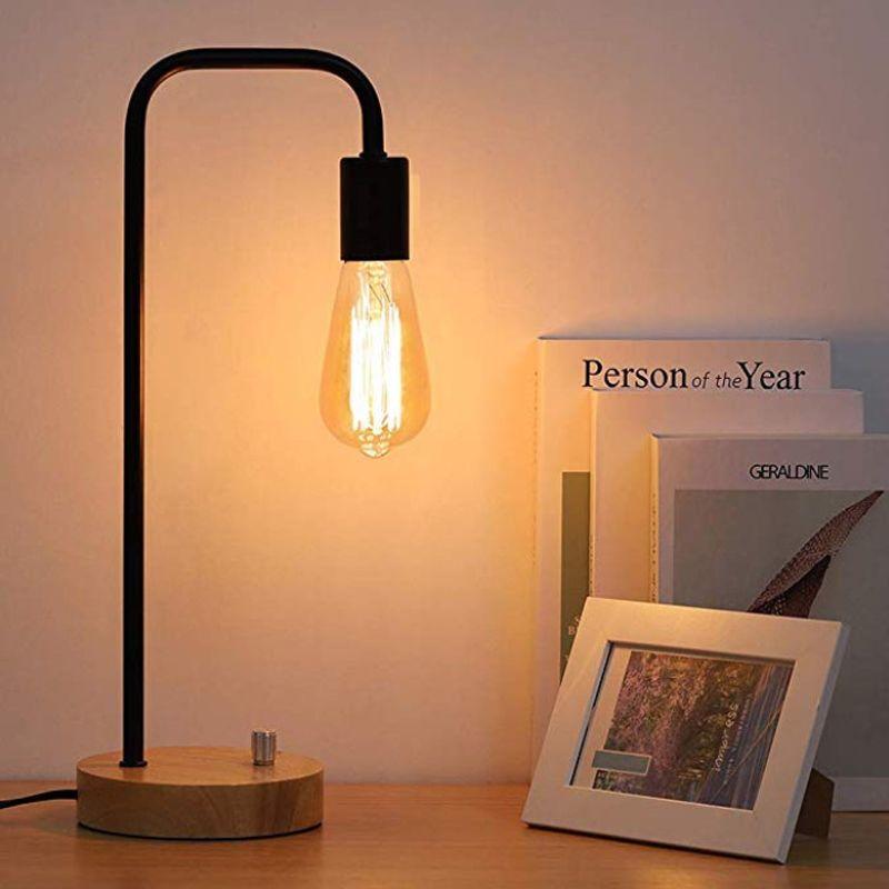 디 밍이 야간 조명 10132 머리맡 창조 단순 현대 쳐도 철 테이블 램프 따뜻하고 로맨틱 단단한 나무 침실