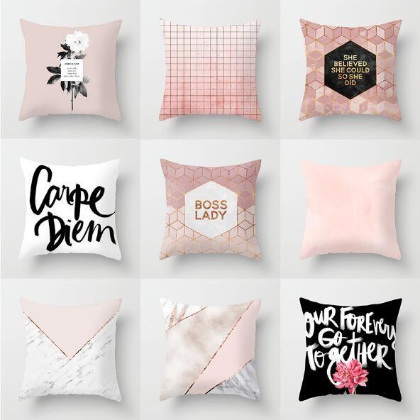 Funda de almohada decorativa de oro Sofá geométrico simple Cubierta de almohada Pink Polyester Home Office Cojín de cojines