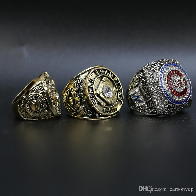 Nouvelle arrivée 1907 1908 2016 Cubs Championnat du monde de baseball anneau fan cadeau de haute qualité en gros 3 anneaux ensemble