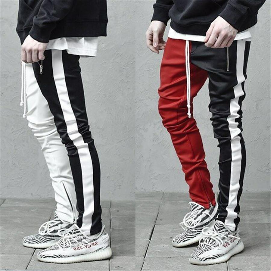 Desenhador Mens Sweatpants Patchwork Cor magro cordão Mens Calças Lápis Casual Hiphop Streetstyle masculinos calças compridas