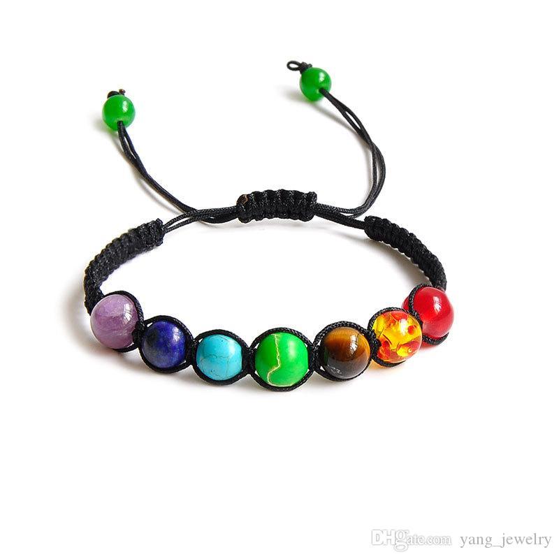 Big perle di 8mm 7 Chakra Yoga Bracciale Jewelry Bracciale guarigione Balance Supernatural Lava Reiki pietre borda il braccialetto Donne