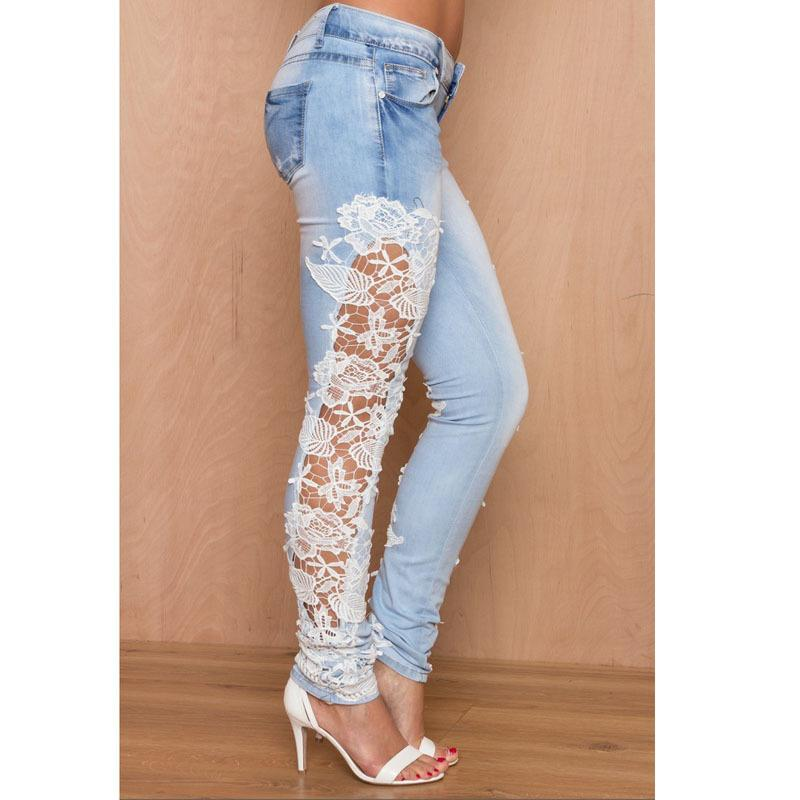 Casual 2020 Lace Floral Side Spliced Stretch Denim Trousers Hollow Out Slim Pencil Pants Women Slim Jeans Y200114
