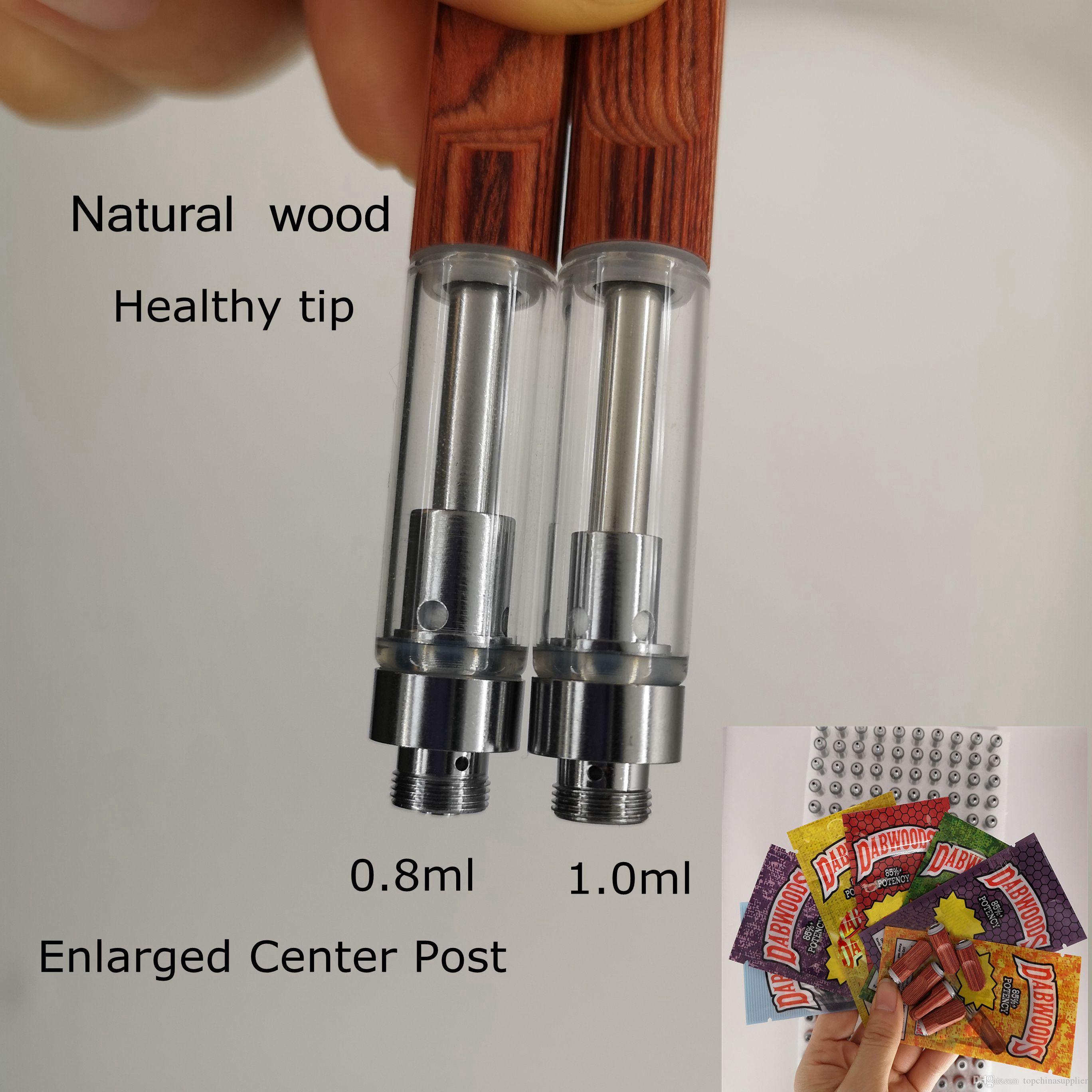 Wood Tips Vape Cartridges Ceramic Coil Dabwoods Packaging 0.8ml 1.0ml Vaporizer Pens Empty Retail Bags Health Woods Carts