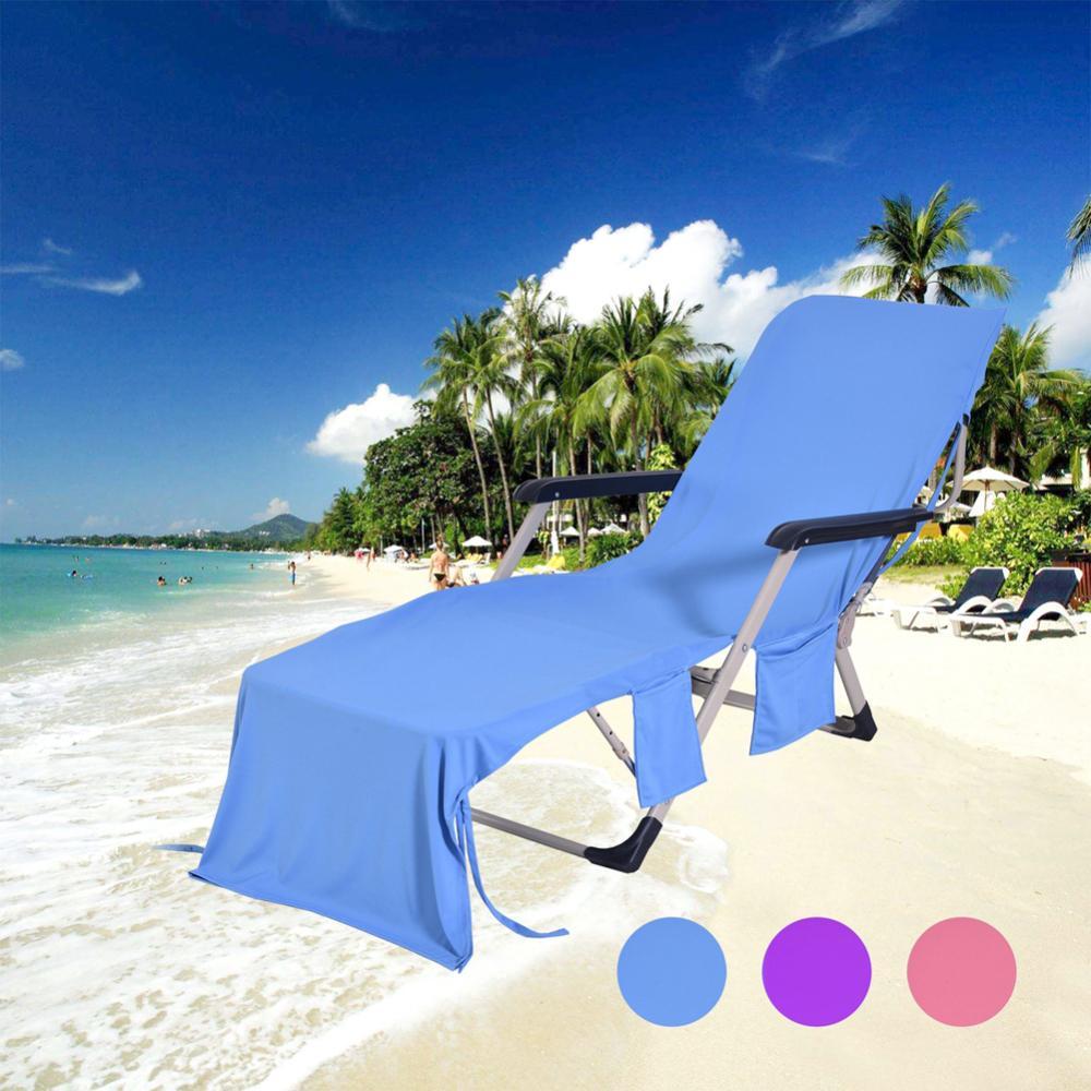 3Colors Lounge Chair Toalha de Praia Tampa microfibra de secagem rápida toalha de piscina de armazenamento Toalha de Praia reclinável Set Toalhas de banho com sacos