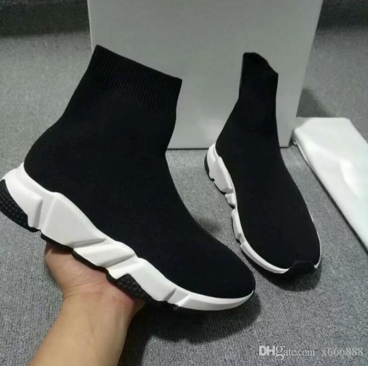 Designer Speed Trainer Fashion Luxury Men Women Sock Shoes Black White Blue Oreo Flat Mens Sport Tennis Sneakers +LOGO