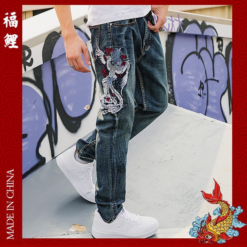 Fushen التطريز فينيكس أنبوب مستقيم الجينز الرجال أزياء العلامة التجارية الجينز الأزياء الصينية السراويل الطويلة
