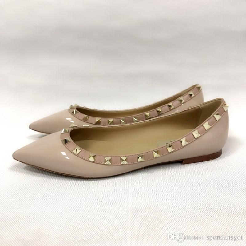 remache zapatos de vestir de charol Zapatos de diseño Mujeres Punta estrecha Tacones altos Tachas de tiras Slingback Stilettos Sandalias de cuero Bombas