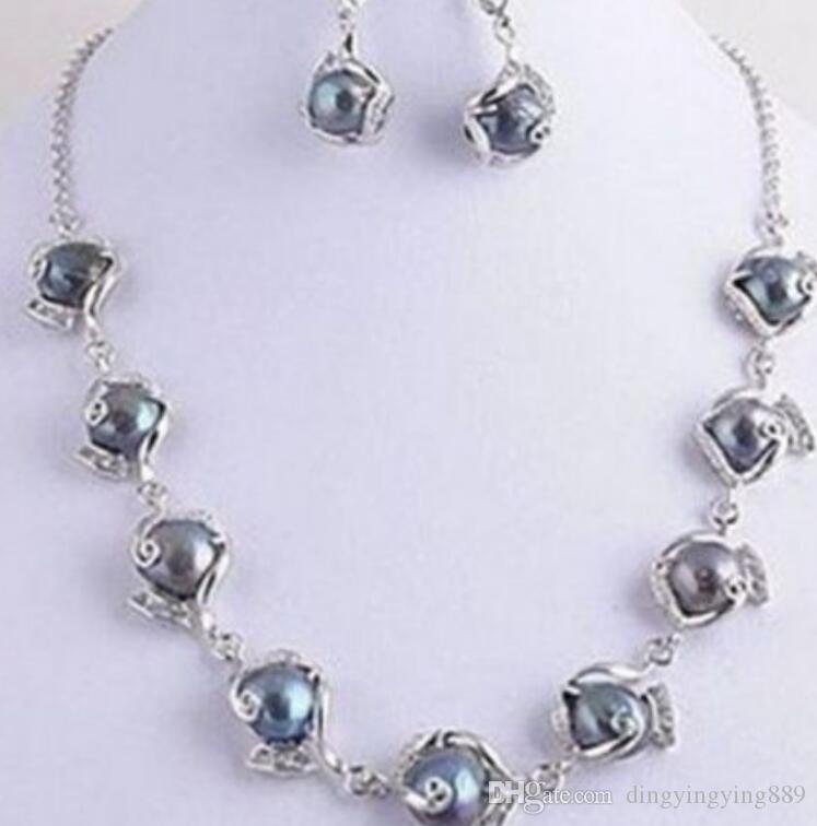 Schmuck hot Fast +NEUE Echte Schmuck Seltsame Schwarze Perlenkette Ohrring Set