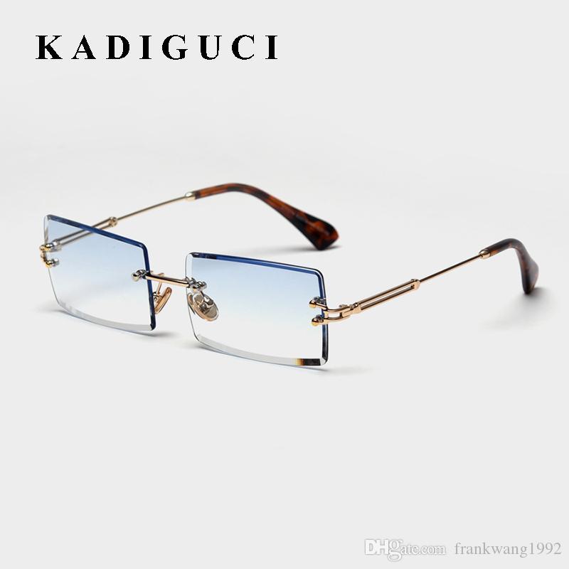 KADIGUCI Vintage Rectangle Lunettes de soleil femmes 2020 Lunettes de soleil sans monture carrée Femme Marque concepteur Dégradé Lunettes UV400 K373