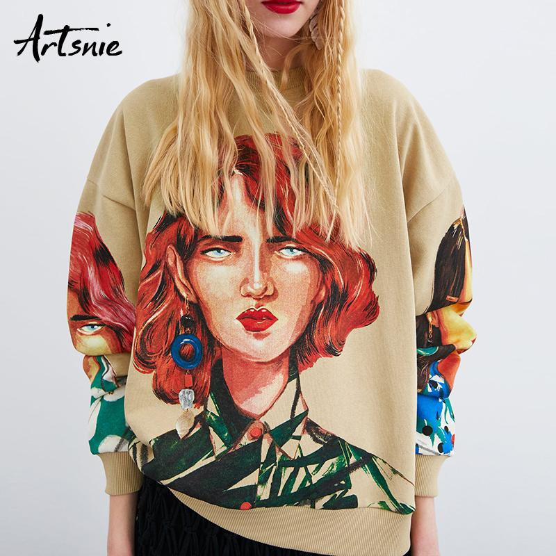 Artsnie Streetwear Sudadera con estampado de personajes Mujer Primavera 2019 O Cuello Jersey de manga larga Sudadera con capucha de punto extragrande Sudaderas Y190814