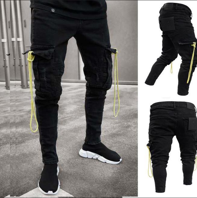 Mens Black Cargo Jeans Destroyed Frayed Biker Jeans Slim Fit Big Pocket Pencil Denim Pants Plus Size S-3XL Man Trousers Trendy