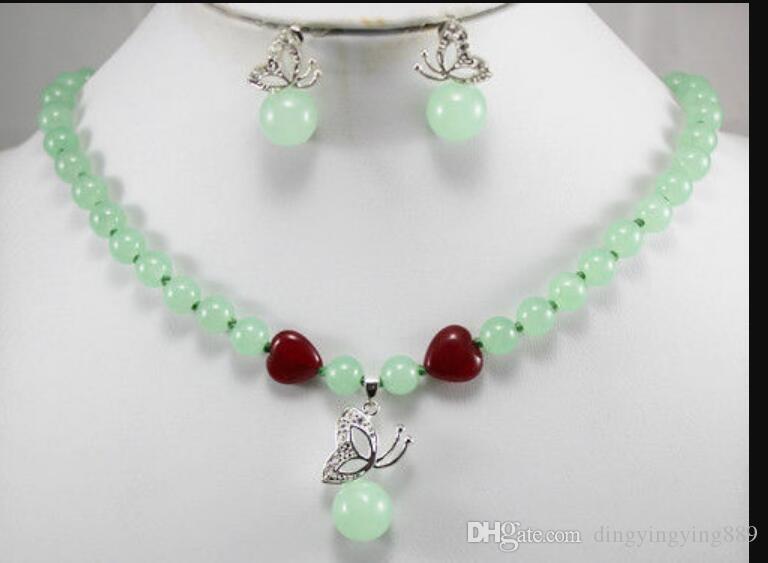 joyería hermosa joyería de jade verde arracadas collar de mariposa establecer A220