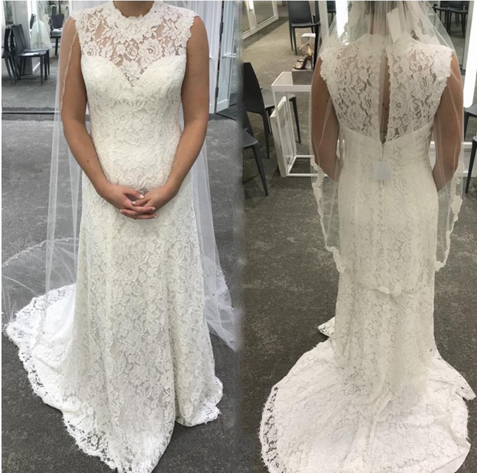 2020 elegante Hüllen Mermaid Brautkleider Sheer High Neck Brautkleider Sommer Handgefertigte Sweep Zug Spitze Brautkleid nach Maß