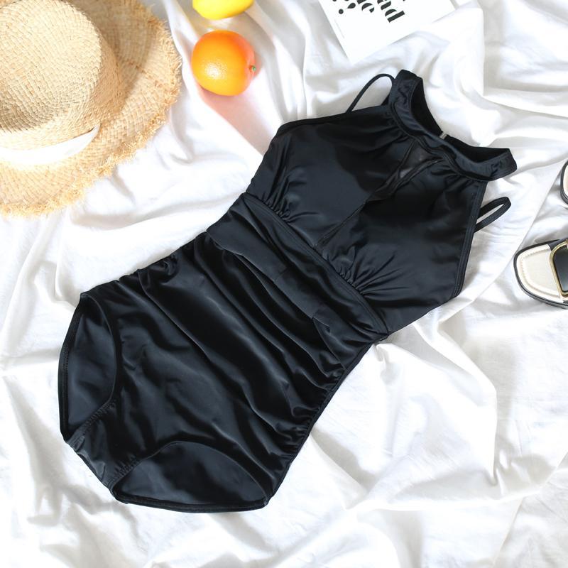 nuova ragazza nero Retro benda Costume intero sexy di usura spiaggia collo rotondo delle donne vita alta costumi da bagno costumi da bagno