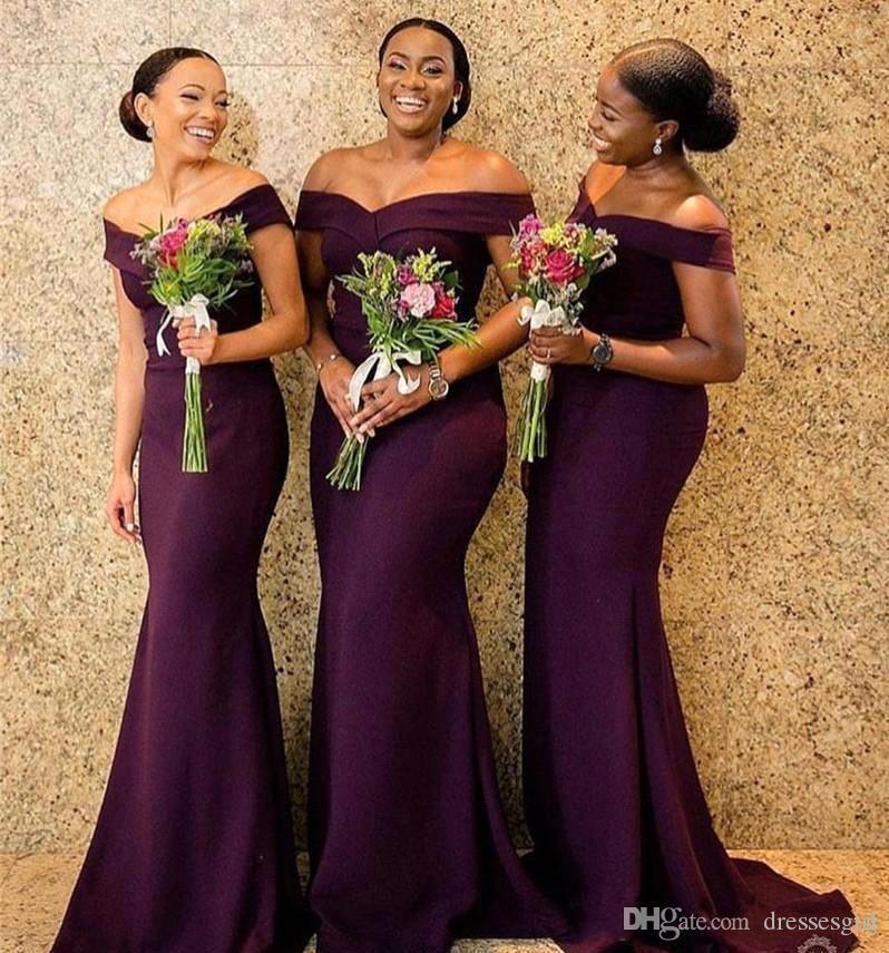 Elegant Off Shoulder Long Bridesmaid Dresses Grape Floor Length Mermaid Wedding Guest Party Dresses Maid of Honor Dress Prom Gown BM0850
