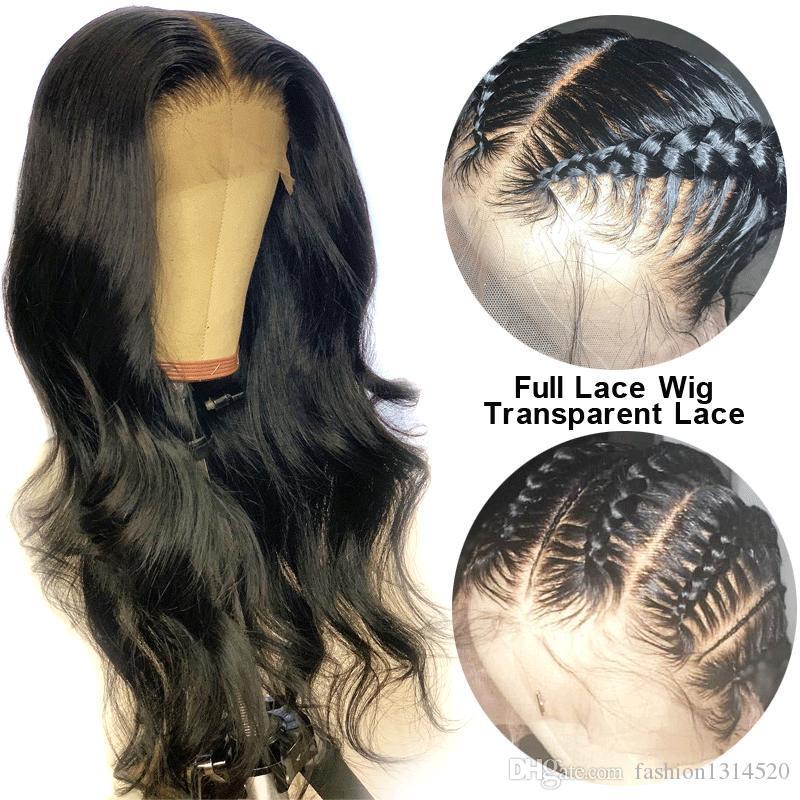 HD 레이스 가발 글루리스 (glueless) 전체 레이스 인간의 머리 가발 아기 머리 바디 웨이브 투명 레이스 가발 여성 브라질 레미