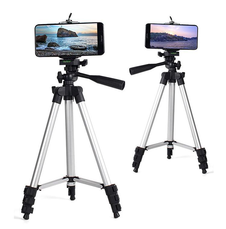 Professional Camera dobrável Tripé Suporte Suporte de 360 graus Fluid Cabeça de Tripé Estabilizador de alumínio com suporte do telefone para o iPhone X 11Pro MAX 7