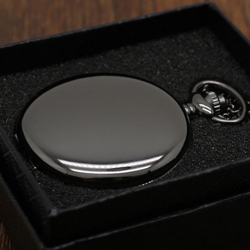 الرجعية موضة الأسود الفضة السلس Steampunk كوارتز الجيب ووتش الفولاذ المقاوم للصدأ قلادة 30CM سلسلة علبة هدية لرجل إمرأة صديق