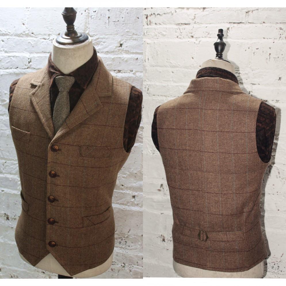 2020 uomini di lana a quadri sposo Gilet Vest Groomsmen Tweed Affari Giacca Abiti formali dello sposo Vestito degli uomini di nozze smoking Gilet