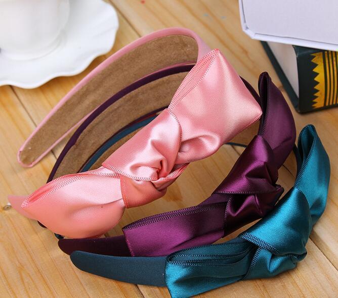 2020 мода девушки бантом Лента лук узел широкий лук оголовье клип лента для волос лента для волос аксессуары 7 цветов