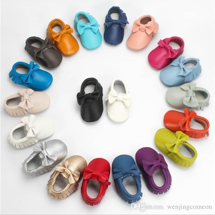 2019 100% Genuíno Couro vermelho sapatos de bebê grande laço macio mocassins de sola para o bebê recém-nascido meninas 0-2 T