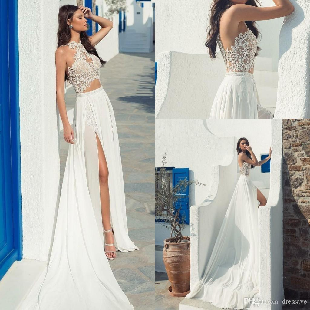 Compre Boho 2020 Playa Dividir Vestidos De Novia Joya De Cuello Ilusión Encaje Appliqued Sexy Boho Vestido De Novia Por Encargo Más Tamaño Vestidos De
