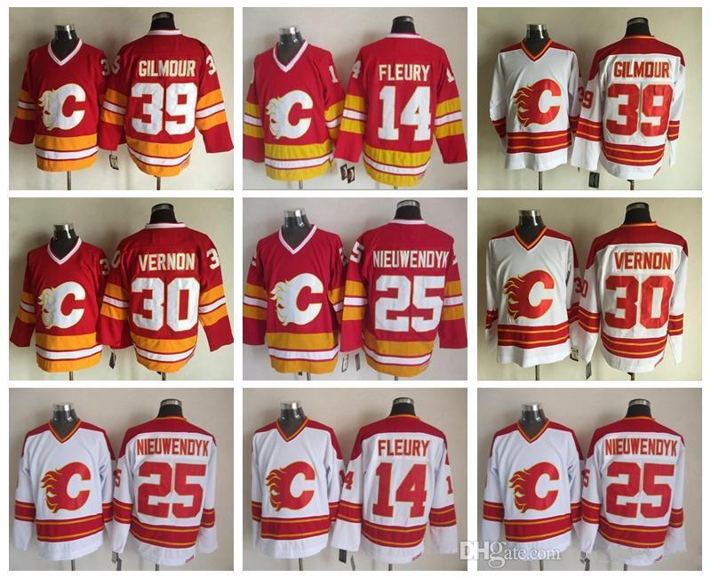 Calgary Flames 14 Teoren Fleury Jersey Erkekler 25 Joe Nieuwendyk 30 Mike Vernon 39 Doug Gilmour Kırmızı Beyaz Vintage Buz Hokeyi Jereseys