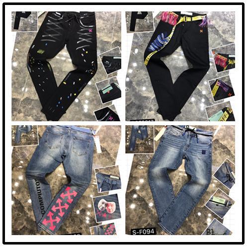 2020 Mens Distintivo Rips elasticizzato nero jeans dello stilista di misura sottile lavato Moto denim pantaloni a pannelli hip hop pantaloni P2