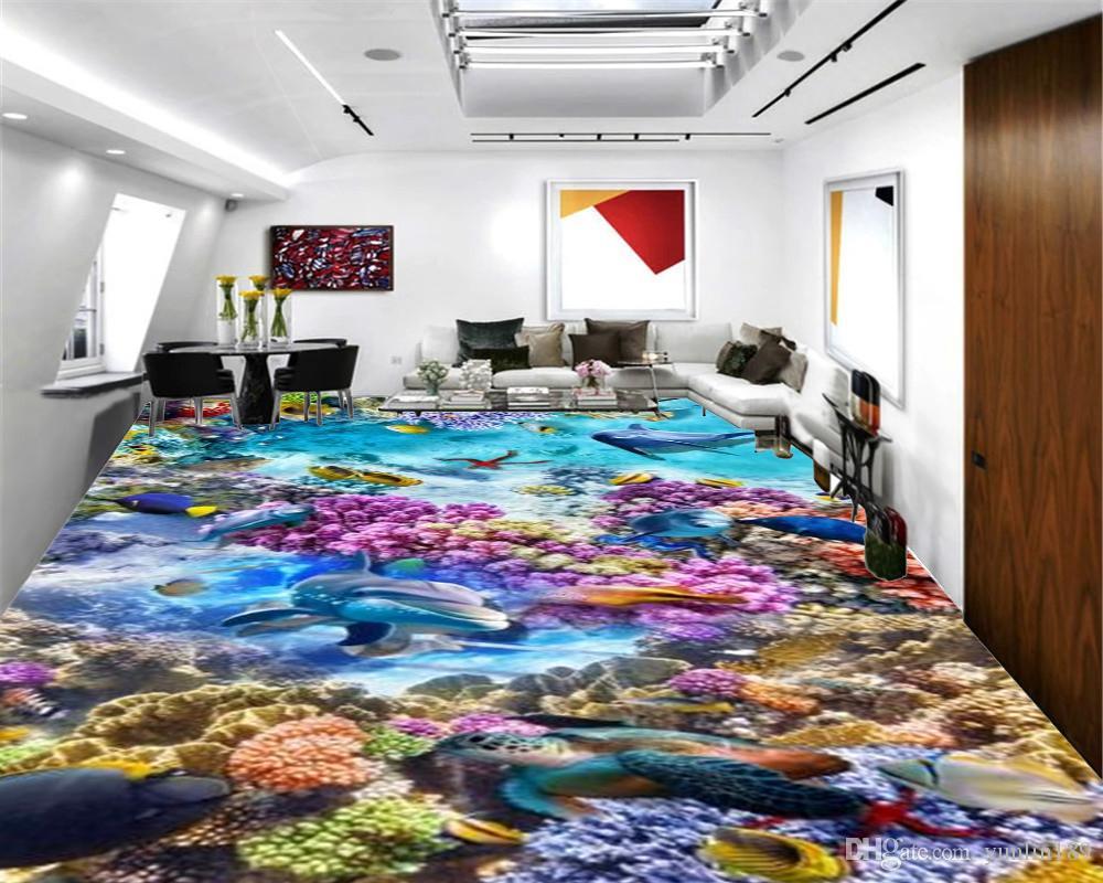 3D sur mesure sol mural Fond d'écran coloré Corail et Dolphin Belle Underwater Paysage Salon Chambre 3D Plancher Intérieur Fond d'écran