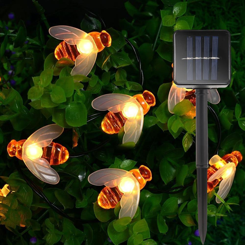 New Solar bonito da abelha do mel Led Cordas Fada Luz 20leds 30LEDs Bee Outdoor Garden Fence Pátio Natal Garland Luzes