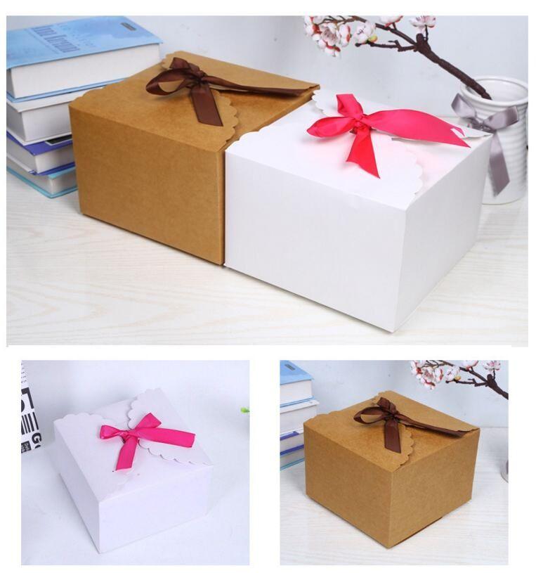12шт старинные ретро крафт-бумага конфеты коробка Белый DIY партия свадьбы пользу подарочная коробка большой торт упаковка с лентами