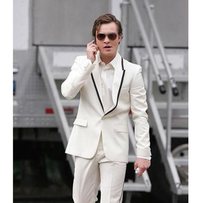 Custom Made Beyaz Klasik Tasarım Erkekler yemeği partisi balo Bir Düğme Damat smokin İş Mens Biçimsel Wear (Ceket + Pantolon) Takımlar