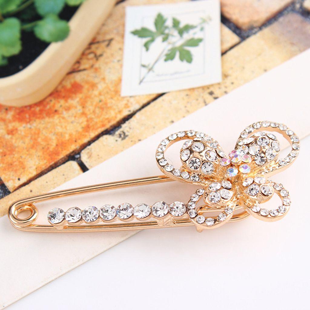 Cristal clair de fleur de papillon Collier épinglette mode en alliage de zinc breastpin