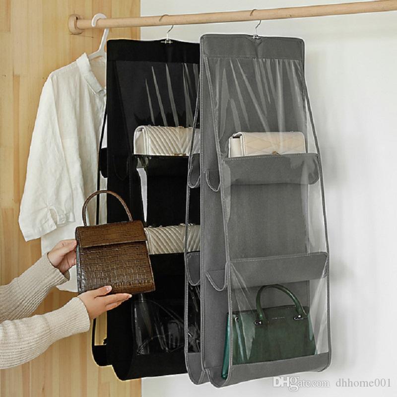 6 de bolso dobrável Pendurado saco de armazenamento Organizer transparente saco de armazenamento para Closet Calçados Porta parede Sundries Pouch