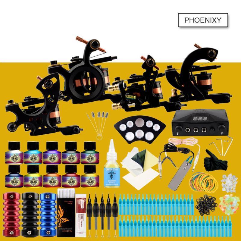 Profesyonel Dövme Seti 4 Dövme Makinesi Seti 10 Renkler Mürekkepler Pigment LCD Güç Kaynağı Aksesuarları Seti Komple Seti Setleri