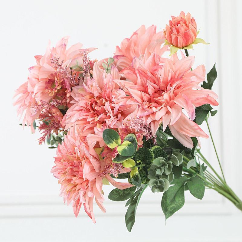 Роскошные Большие Георгины Букет Шелк Искусственные Цветы Флорес Для Украшения Свадьбы Mariage Babyshower Белый Поддельный Цветок