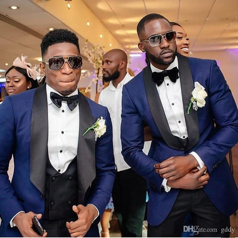 Brand New Navy Blue Groom Tuxedos Black Lapel Groomsman Wedding Suit Excellent Men Business Prom Jacket Blazer(Jacket+Pants+Tie+Vest)