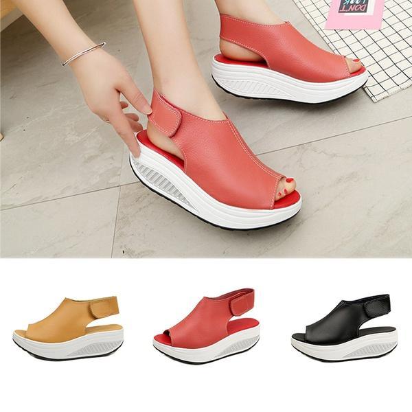 Zapatos de cuero de las mujeres del verano sandalias de plataforma gruesa casual femenino de la talla flop Plus