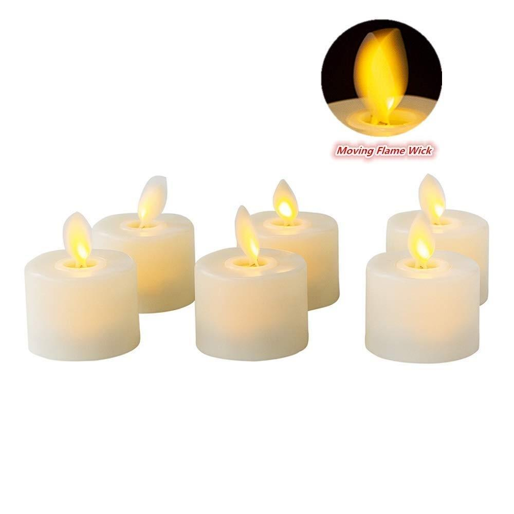 Pack of 2 Moving LED Tea Light Candles,Battery Operated Warm White Flameless Pillar Candle With Dancing Flickering Bulb Candles