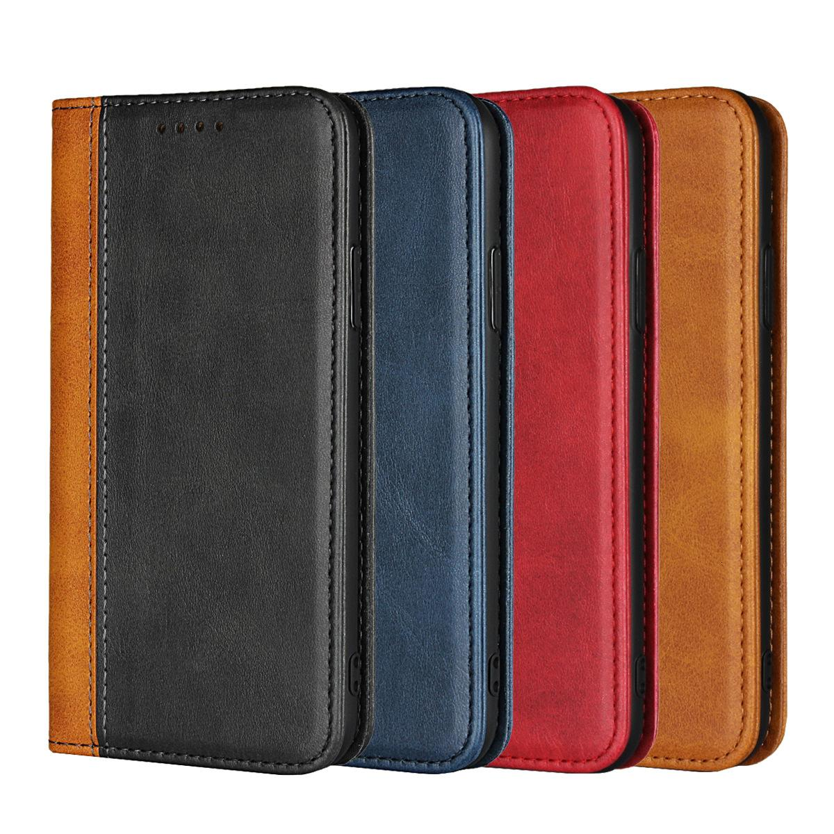 8 card slot Luxury calfskin leather wallet in black and blue