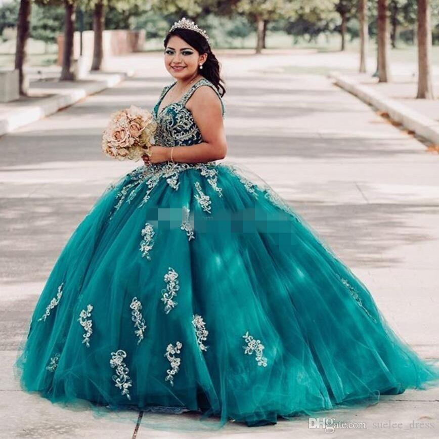 Hunter Green Ball Gown Quinceanera Abiti Tulle Oro Applique Beaded 2020 Più Nuovo Dolce 16 cinghie Principessa PageAnt Party Abbigliamento formale