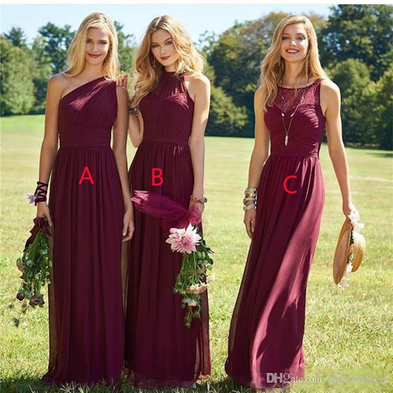 Burgundy Chiffon Long Bridesmaid Dresses Zipper Back 2019 Floor Length Wedding Party Dresses Robe Mariage Femme