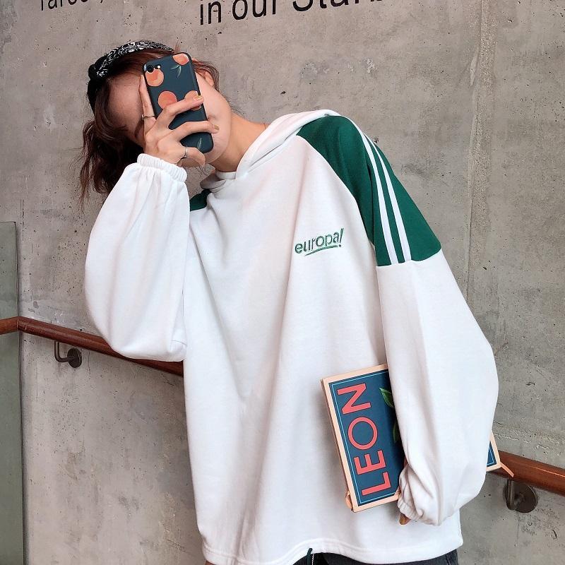 Kadınlar Sonbahar Kapşonlu Sweatshirt için Tişörtü Kadın Hoodie Artı boyutu Kazak Kapüşonlular Kadınlar Beyaz Yeşil Uzun Kollu Hoody