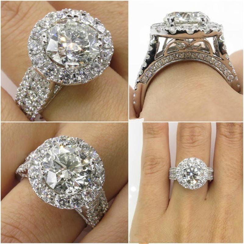 14k oro bianco diamante anelli gioielli per le donne Bizuteria con Anillos De Bague o Jaune Anello Diamante diamante pietra preziosa all'ingrosso Y19052401